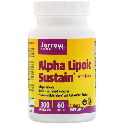 Jarrow Formulas, Alpha Lipoic Sustain 300, with Biotin, 300 mg, 60 Sustain Tablets فوائد