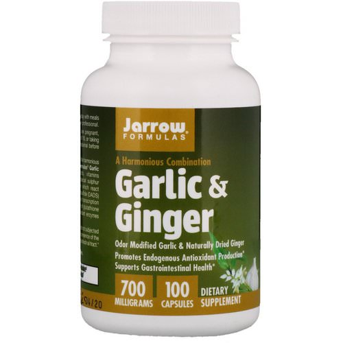 Jarrow Formulas, Garlic & Ginger, 700 mg, 100 Capsules فوائد