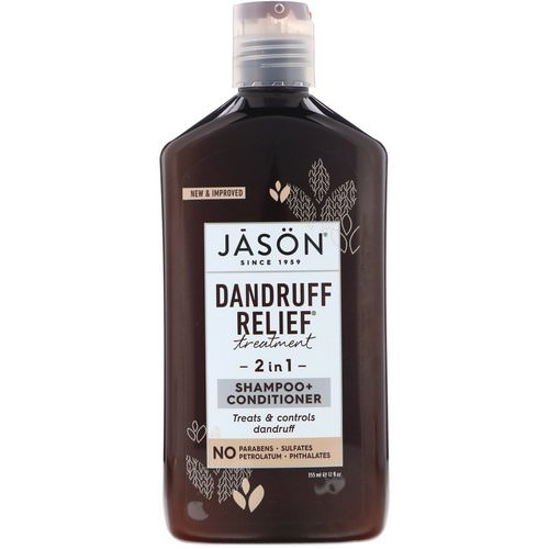 Jason Natural, Dandruff Relief Treatment, 2 in 1, Shampoo + Conditioner, 12 fl oz (355 ml) فوائد