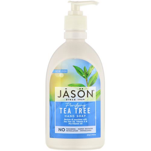 Jason Natural, Hand Soap, Purifying Tea Tree, 16 fl oz (473 ml) فوائد