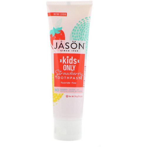 Jason Natural, Kids Only! Toothpaste, Strawberry, 4.2 oz (119 g) فوائد
