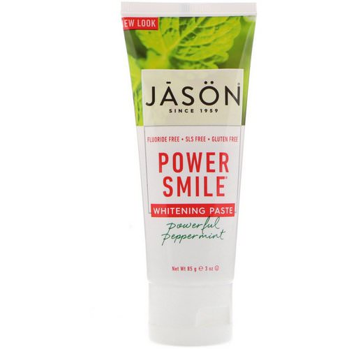 Jason Natural, Power Smile, Whitening Paste, Powerful Peppermint, 3 oz (85 g) فوائد