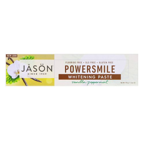 Jason Natural, Powersmile, Antiplaque & Whitening Toothpaste, Vanilla PowerMint, 6 oz (170 g) فوائد