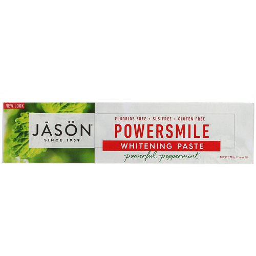 Jason Natural, PowerSmile Whitening Paste, Powerful Peppermint, 6 oz (170 g) فوائد