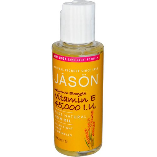Jason Natural, Pure Natural Skin Oil, Maximum Strength Vitamin E, 45,000 IU, 2 fl oz (59 ml) فوائد