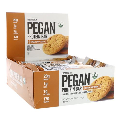 Julian Bakery, Pegan Protein Bar, Seed Protein, Ginger Snap Cookie, 12 Bars, 2.28 oz (64.7 g) Each فوائد