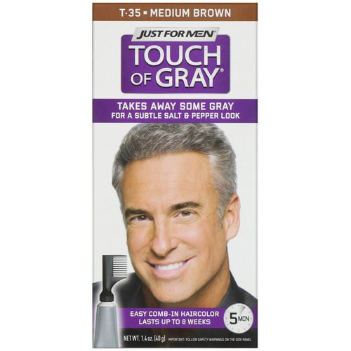 Just for Men, Touch of Gray, Comb-in Hair Color, Medium Brown T-35, 1.4 oz (40 g) فوائد
