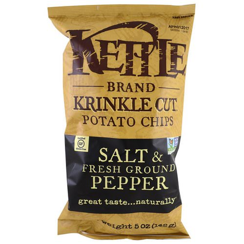 Kettle Foods, Potato Chips, Salt & Fresh Ground Pepper, 5 oz (142 g) فوائد