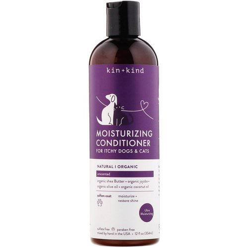 Kin+Kind, Moisturizing Conditioner, for Itchy Dogs & Cats, Unscented, 12 fl oz (354 ml) فوائد
