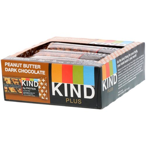 KIND Bars, Kind Plus, Peanut Butter Dark Chocolate Bar, 12 Bars, 1.4 oz (40 g) Each فوائد