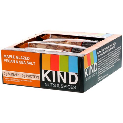 KIND Bars, Nuts & Spices, Maple Glazed Pecan & Sea Salt, 12 Bars 1.4 oz (40 g) Each فوائد