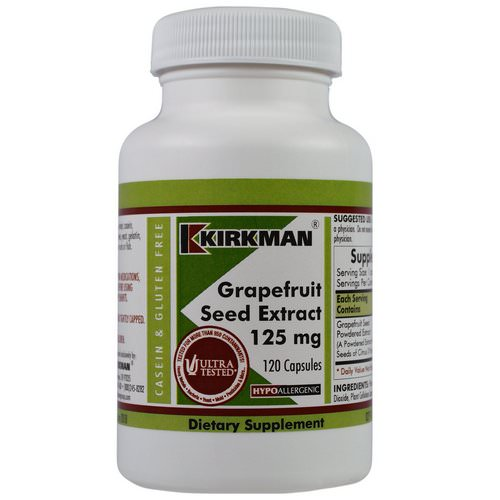 Kirkman Labs, Grapefruit Seed Extract, 125 mg, 120 Capsules فوائد