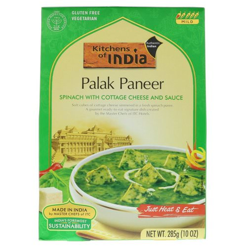 Kitchens of India, Palak Paneer, Spinach with Cottage Cheese and Sauce, Mild, 10 oz (285 g) فوائد