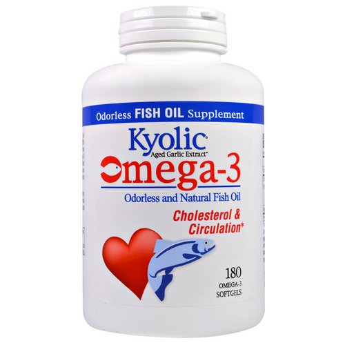 Kyolic, Omega - 3, Odorless and Natural Fish Oil, 180 Omega-3 Softgels فوائد