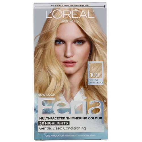 L'Oreal, Feria, Multi-Faceted Shimmering Color, 100 Very Light Natural Blonde, 1 Application فوائد