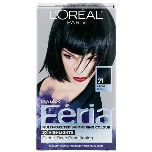L'Oreal, Feria, Multi-Faceted Shimmering Color, 21 Bright Black, 1 Application فوائد