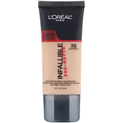 L'Oreal, Infallible Pro-Matte Foundation, 102 Shell Beige, 1 fl oz (30 ml) فوائد