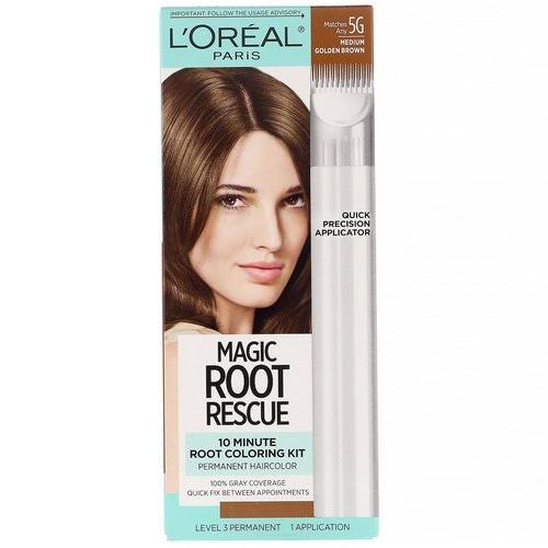 L'Oreal, Magic Root Rescue, 10 Minute Root Coloring Kit, 5G Medium Golden Brown, 1 Application فوائد