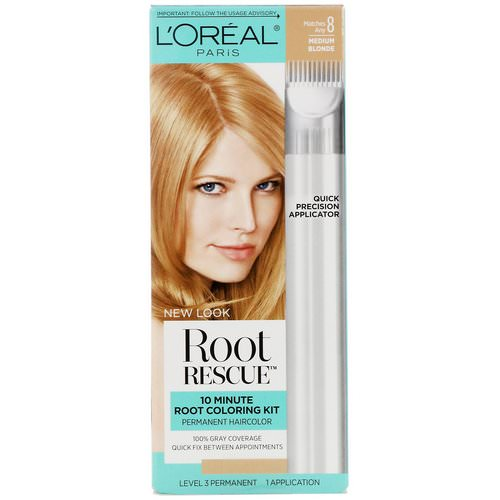 L'Oreal, Root Rescue, 10 Minute Root Coloring Kit, 8 Medium Blonde, 1 Application فوائد