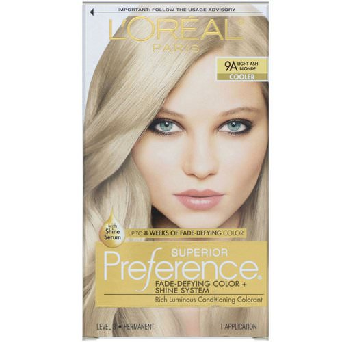 L'Oreal, Superior Preference, Fade-Defying Color + Shine System, Cooler. Light Ash Blonde 9A, 1 Application فوائد