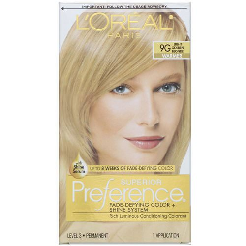 L'Oreal, Superior Preference, Fade-Defying Color + Shine System, Warmer, Light Golden Blonde 9G, 1 Application فوائد