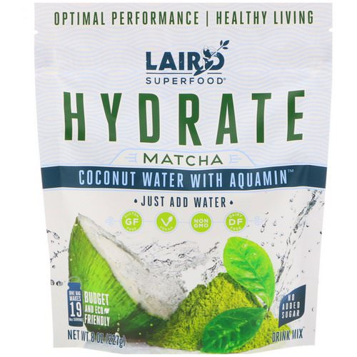 Laird Superfood, Hydrate, Matcha, Coconut Water with Aquamin, 8 oz (227 g) فوائد