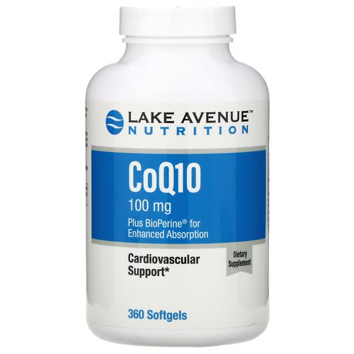 Lake Avenue Nutrition, CoQ10 USP with Bioperine, 100 mg, 360 Softgels فوائد