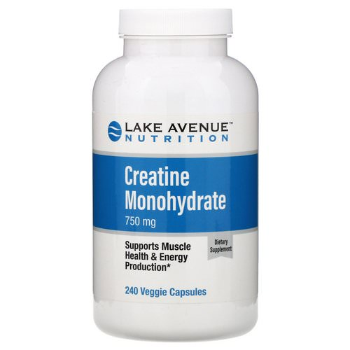 Lake Avenue Nutrition, Creatine Monohydrate, 750 mg, 240 Veggie Capsules فوائد