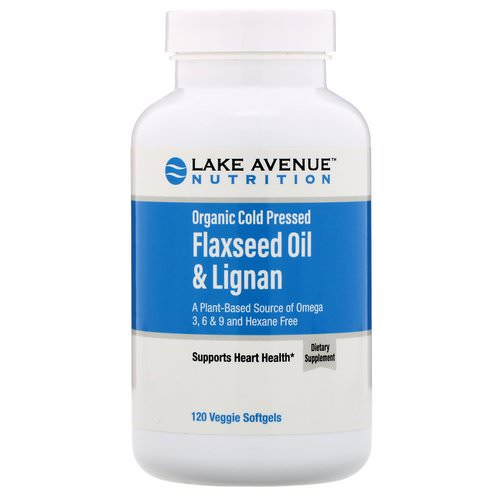 Lake Avenue Nutrition, Organic Cold Pressed Flaxseed Oil & Lignan, Hexane Free, 120 Veggie Softgels فوائد