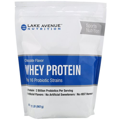 Lake Avenue Nutrition, Whey Protein + Probiotic, Chocolate Flavor, 2 lb (907 g) فوائد