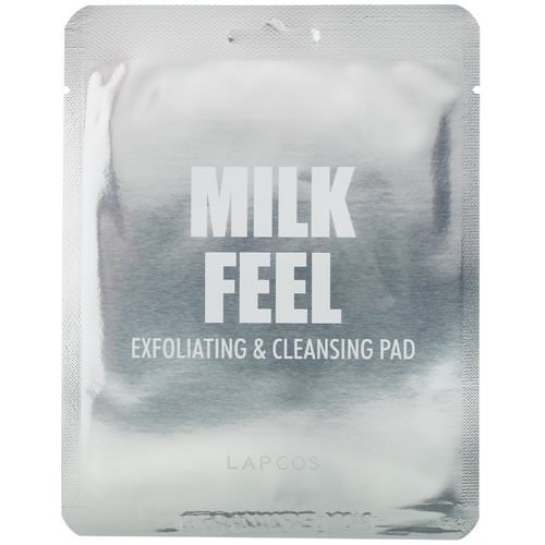 Lapcos, Milk Feel, Exfoliating & Cleansing Pad, 5 Pads, 0.24 oz (7 g) Each فوائد