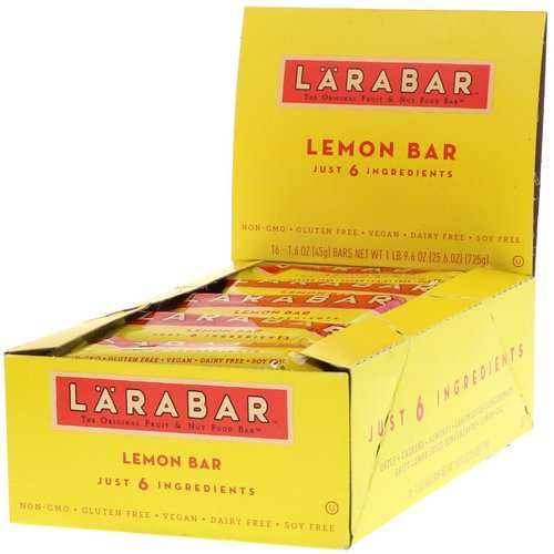 Larabar, Lemon Bar, 16 Bars, 1.6 oz (45 g) Each فوائد
