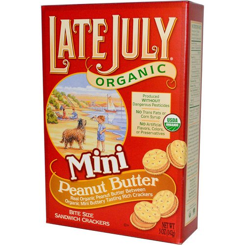 Late July, Organic Mini Bite Size Sandwich Crackers, Peanut Butter, 5 oz (142 g) فوائد