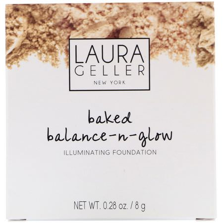 Laura Geller, Baked Balance-N-Glow, Illuminating Foundation, Medium, 0.28 oz (8 g):Foundation, وجه
