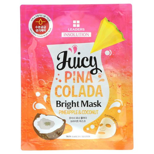 Leaders, Insolution, Juicy Pina Colada Bright Mask, Pineapple & Coconut, 1.01 fl oz (30 ml) فوائد