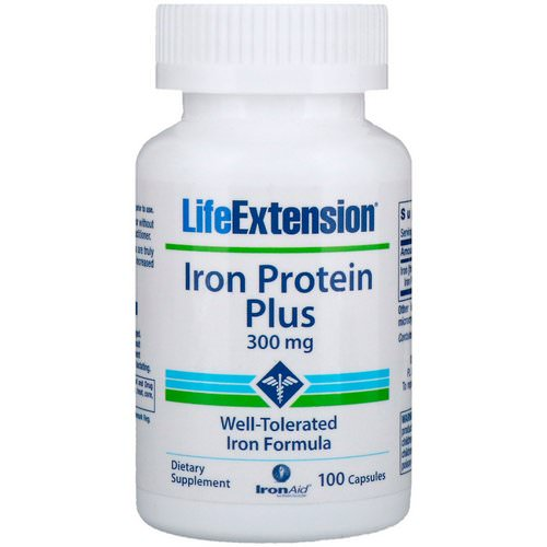 Life Extension, Iron Protein Plus, 300 mg, 100 Capsules فوائد