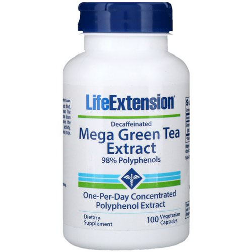 Life Extension, Mega Green Tea Extract, Decaffeinated, 100 Vegetarian Capsules فوائد