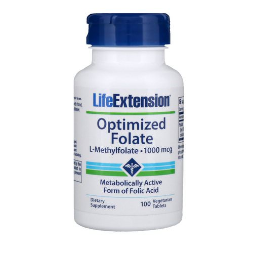 Life Extension, Optimized Folate, 1,000 mcg, 100 Vegetarian Tablets فوائد