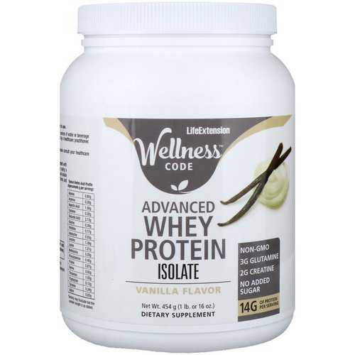 Life Extension, Wellness Code, Advanced Whey Protein Isolate, Vanilla Flavor, 1 lb (454 g) فوائد