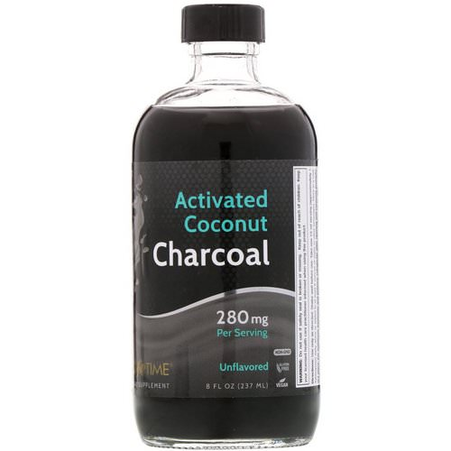 LifeTime Vitamins, Activated Coconut Charcoal, Unflavored, 280 mg, 8 fl oz (237 ml) فوائد