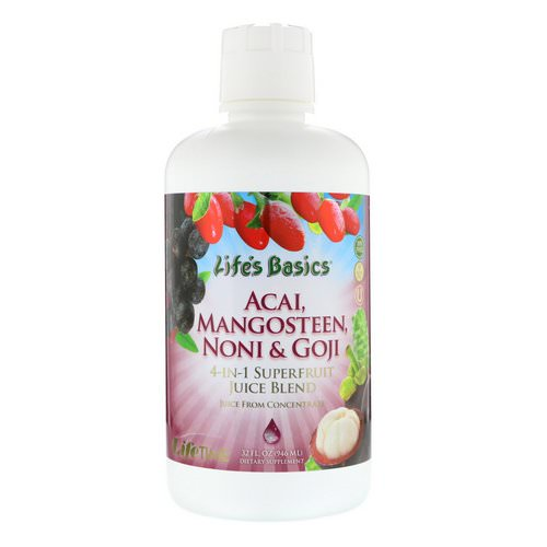 LifeTime Vitamins, Life's Basics, 4-In-1 Superfruit Juice Blend, Acai, Mangosteen, Noni & Goji, 32 fl oz (946 ml) فوائد