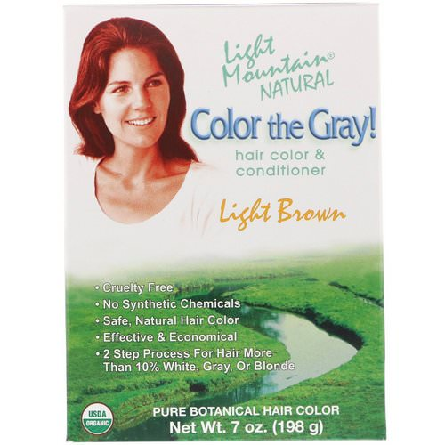 Light Mountain, Color the Gray! Natural Hair Color & Conditioner, Light Brown, 7 oz (198 g) فوائد