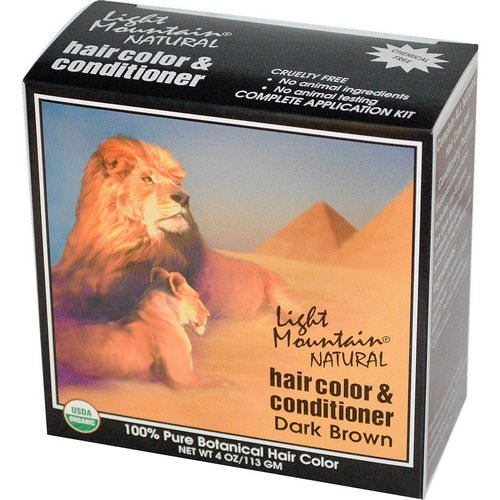 Light Mountain, Organic Hair Color & Conditioner, Dark Brown, 4 oz (113 g) فوائد