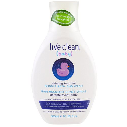 Live Clean, Baby, Calming Bedtime, Bubble Bath & Wash, 10 fl oz (300 ml) فوائد
