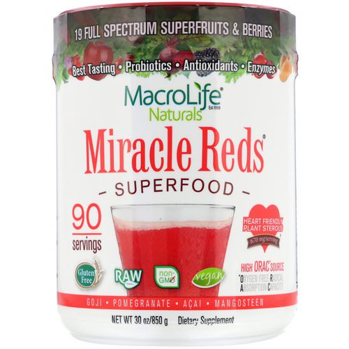 Macrolife Naturals, Miracle Reds, Superfood, Goji- Pomegranate- Acai- Mangosteen, 1.9 lbs (850 g) فوائد