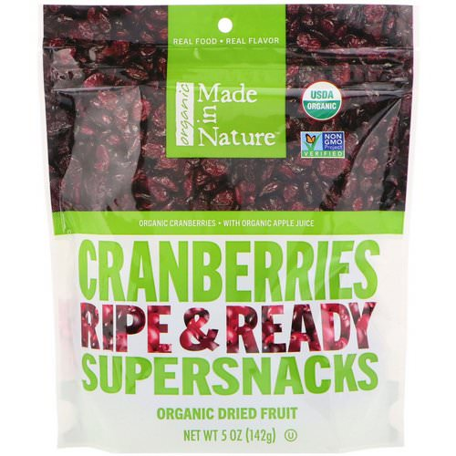 Made in Nature, Organic Dried Cranberries, Ripe & Ready Supersnacks, 5 oz (142 g) فوائد
