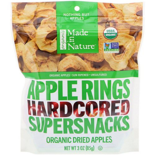 Made in Nature, Organic Dried Apple Rings, Hardcored Supersnacks, 3 oz (85 g) فوائد