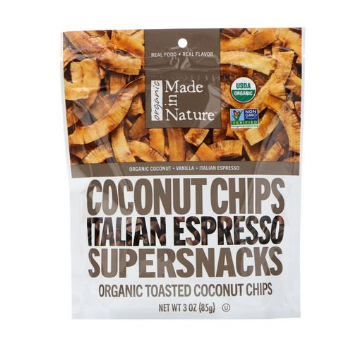 Made in Nature, Organic Coconut Chips, Italian Espresso Supersnacks, 3.0 oz (85 g) فوائد