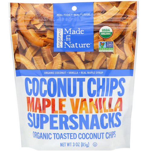 Made in Nature, Organic Coconut Chips, Maple Vanilla Supersnacks, 3 oz (85 g) فوائد
