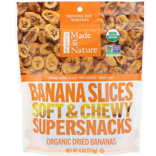 Made in Nature, Organic Dried Banana Slices, Soft & Chewy Supersnacks, 4 oz (113 g) فوائد